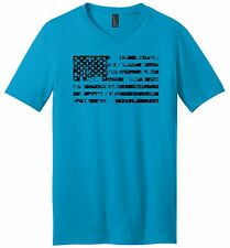 Distressed American Flag Mens V-Neck T Shirt American Pride USA July 4th Tee