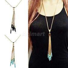 Retro Bohemian Turquoise Bead Tassel Pendant Long Chain Statement Necklace Gold