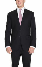 Mens Modern Fit Black Tonal Striped Two Button Super 140's Wool Suit