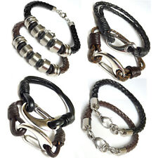 Mens Genuine Brown Leather Braided Wristband Bracelet Stainless Steel Clasp