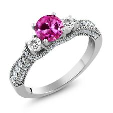 2.25 Ct Round Pink Created Sapphire White Sapphire 925 Sterling Silver Ring
