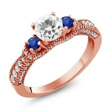 1.95 Ct Round White Quartz Blue Sapphire 18K Rose Gold Plated Silver Ring