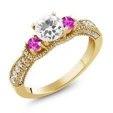 1.95 Ct Round White Quartz Pink Sapphire 18K Yellow Gold Plated Silver Ring