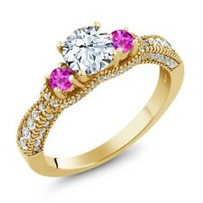 2.45 Ct White Created Sapphire Pink Sapphire 18K Yellow Gold Plated Silver Ring
