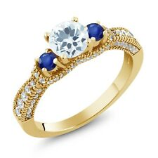 2.00 Ct Sky Blue Aquamarine Blue Sapphire 18K Yellow Gold Plated Silver Ring
