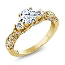 2.15 Ct Round White Topaz White Sapphire 18K Yellow Gold Plated Silver Ring