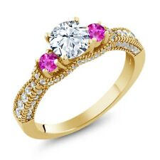 2.09 Ct Round White Zirconia Pink Sapphire 18K Yellow Gold Plated Silver Ring