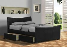 Turin Designer Black 4 Drawer Leather Bed Storage Double Kingsize With Mattress