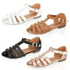 WOMENS LADIES T BAR ANKLE FLAT STRAPPY GLADIATOR BUCKLE GEEK SUMMER SANDALS SIZE