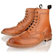 MENS LEATHER BROGUE LACE UP GOOD YEAR WELTED SOLE TAN ANKLE BOOTS SHOES SIZE