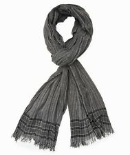 John Varvatos Star USA Men's Scarf Border Stripe Wool More Colors $85 msrp NWT