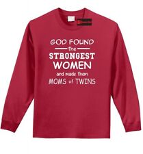 God Found Strongest Women Moms Of Twins Funny L/S T Shirt Mothers Day Gift Z1
