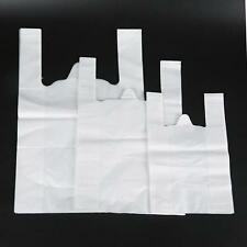NEW 50PCS STRONG PLASTIC CARRIER BAGS VEST SHOPPING SUPERMARKET SHOP TAKEAWAY