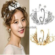 Rhinestone Double Swan Pearls Wedding Bridal Headband Crown Tiara