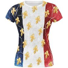 French Flag Grunge Distressed Fleur De Lis All Over Juniors T Shirt