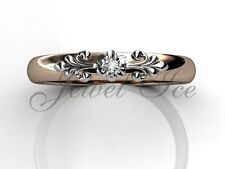 14k Rose and White Gold Diamond Floral Wedding Band Anniversary Ring LB-2015-6