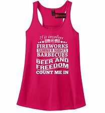 Fireworks Barbecues Beer And Freedom Ladies Tank Top USA Pride Tank Z6