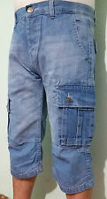 MENS LIGHT INDIGO DENIM 3/4 SHORTS CARGO COMBAT JEANS SUMMER CASUAL SHORTS