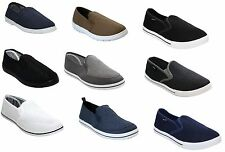 MENS SLIP ON CANVAS PLIMSOLLS PUMP COMFY SUMMER BEACH FLAT TRAINERS CASUAL SHOES