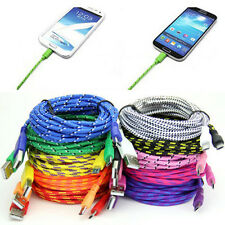 1/2/3M Strong Fabric Braided Micro USB Data Sync Charger Cable For Samsung Best