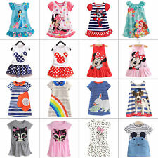 Kids Baby Girls Cartoon Minnie Mouse Party Shift Dress Long T-Shirt Sundress Top