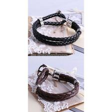 Fashion Multilayer Leather Woven Wristband Anchor Bracelet Bangle 2 Colors