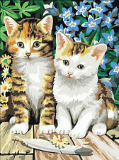 Hand Painted Design Printed 10/14/18CT Needlepoint Canvas Two Cats