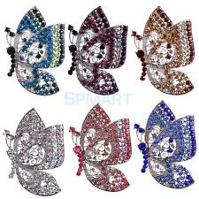 Vintage Rhinestone Crystal Silver Plated Alloy Charming Butterfly Brooch Pin