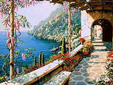 Spring Seaside Corridor Hand Painted Design Needlepoint Canvas 062