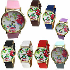 Quartz Faux Leather Lady Geneva Rose Flower Wrist Watch Women Muti Color Girl