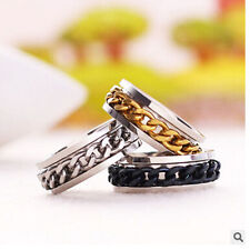 Fashion Ring Band Silver Black Gold Chain Stainless Steel Rings Wedding Sz16-21