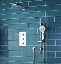 Concealed Triple Thermostatic Shower Mixer 2 Way Valve Chrome Round V1 Kit