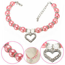 Dog Cat pearls necklace collar rhinestones LOVE charm pendant pet puppy jewelry