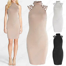 NEW LADIES POLO NECK STRAP SHOULDERS MINI DRESS WOMENS BODYCON MUSCLE CAGE TOP