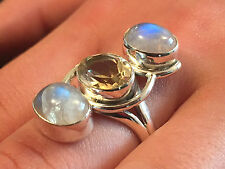 STERLING SILVER MOONSTONE & CITRINE RING SIZE Q 1/2 (us 8.5)