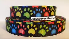 """Grosgrain Ribbon, Fluorescent Look Colorful Animal Dog Paw Prints on Black, 7/8"""""""