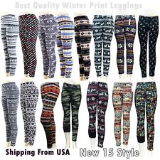 Thin/Thick Winter Womens Nordic Reindeer Snowflake Knitted Leggings Pants