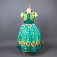 Frozen Anna Princess Dress Green Cosplay Disney Party Girl Dress Skirt