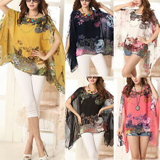 Summer Womens Sexy Batwing Sleeve Blouse Loose Chiffon Floral Print T-shirt Tops