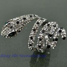 SIZE 6# FULL CZ SNAKE STATEMENT 18K WHITE GOLD PLATED RING SOLID FILL GP GEP f11