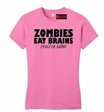 Zombies Eat Brains Youre Safe Funny Juniors T Shirt Rude Halloween Party Petite