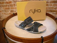 Ryka Navy Blue Perforated 2 Strap Slip-on Sandals NEW