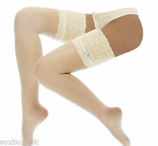Ladies Bridal Deep Lace top Stockings and Hold ups with blue bow, S,M,L