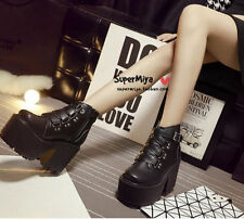 New Womens Punk Buckle Strap High Platform Block Heel Ankle Boots Gothic Shoes