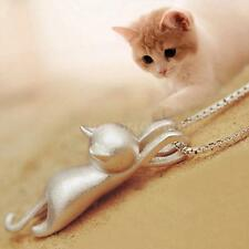 Women Girl Fashion Silver lovely Cat Kitty Pendant Necklace Charm Jewelry Y4S3