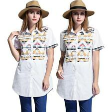 Casual Women Ladies Long Blouse Buttons Short Sleeve Top Shirt Plus Size X6B5