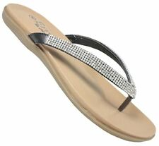 Ladies Womens flip flop diamante strappy sandal holiday beach toe post shoes