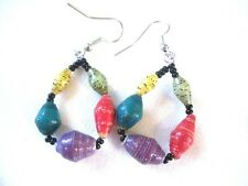 Recycled Paper Bead Earrings Jungle Party 5 Bead Loops, Choose Wire Color Uganda