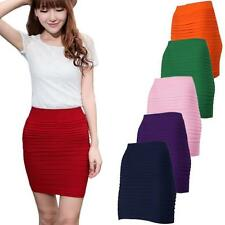 HOT Womens High Waist lastic Pleated Package Hip Short Skirt Slim Dress 11 Color