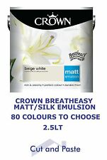 CROWN 2.5L MATT/SILK emulsion paint Walls Ceilings 40 COLOURS, Breatheasy CHEAP